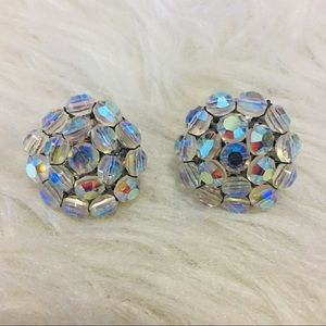 Vintage Vogue Sequin Bead Clip-On Earrings